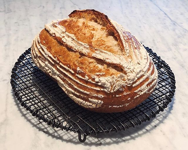 Practice makes...practice. Working on my sourdough method and very happy with this loaf! 🥖 . . . . . #bake #feedfeed #thebakefeed #soughdough #starter #homemade #kingarthurflour #juniperfancy