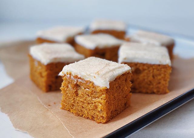 They're BACK & they can be YOURS!!! . It's pumpkin season and I'm baking my* famous pumpkin bars w/ cream cheese frosting. DM to place an order! *mom & grandma's ❤️