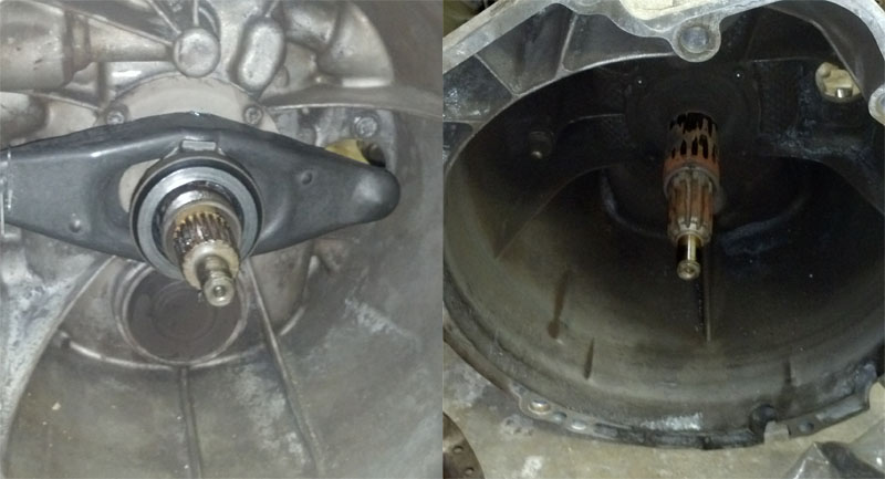 The different input shaft splines. 6-speed on the left.