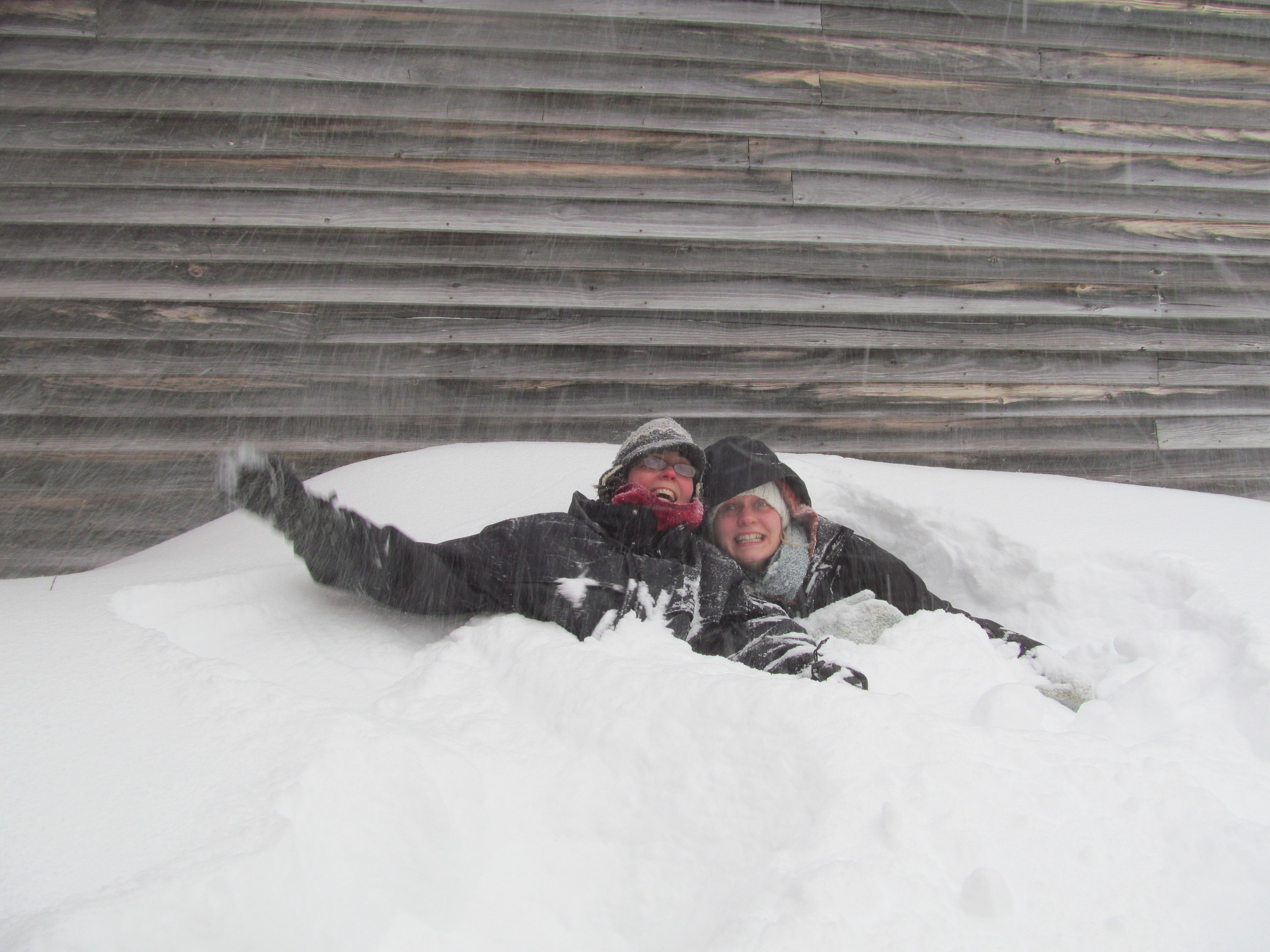 Friends, Meghan and Corinne, playing in a snow drift, January 27, 2015.
