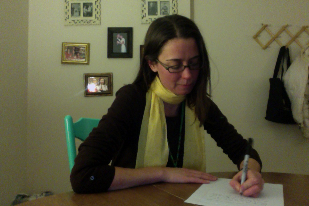Meghan in her new office in Rockport, Maine.