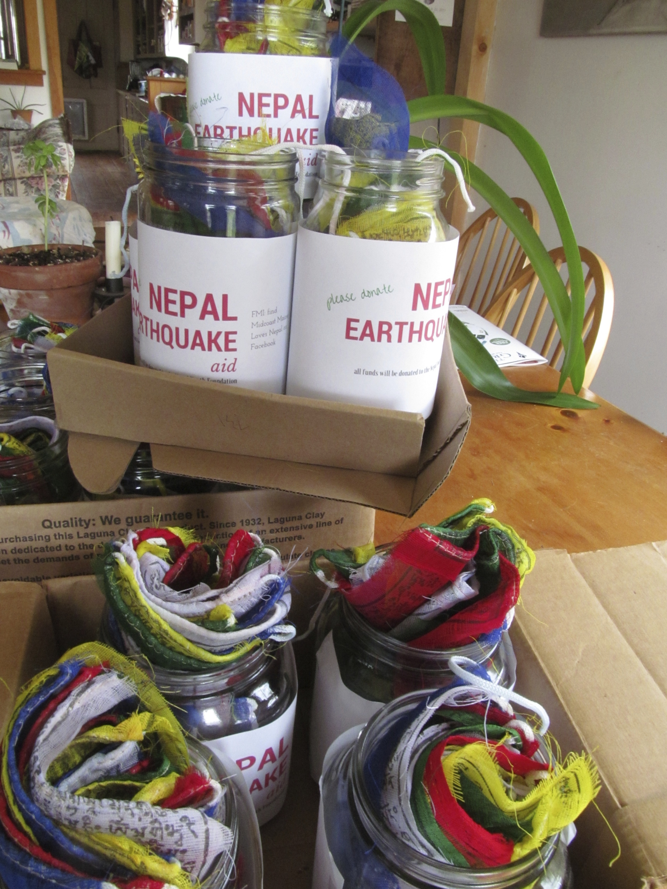 Jars ready to go out for the Eat for Nepal fundraiser, May 2015