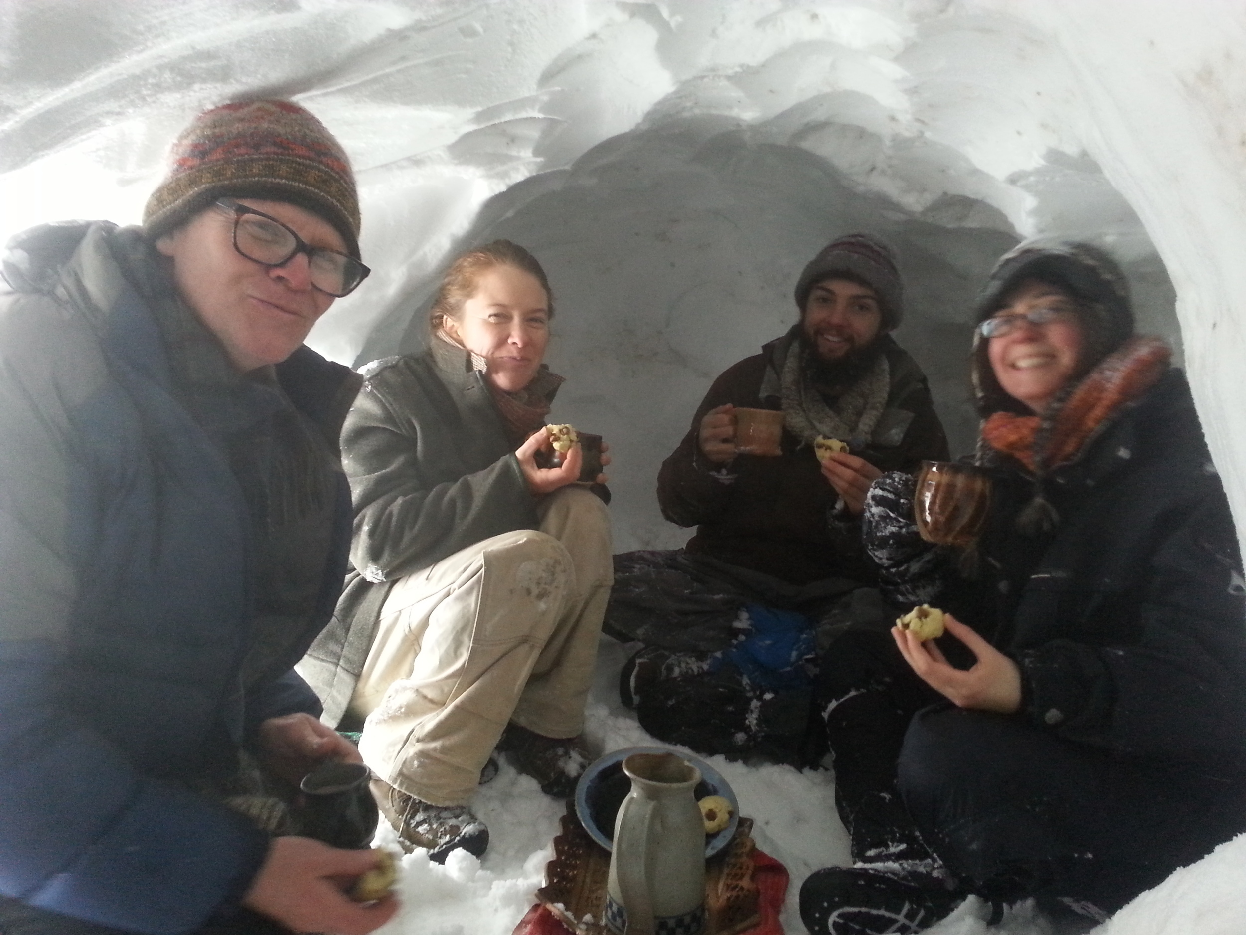 We built a snow cave! And fit five adults and one large dog in it. Then we ate cookies and hot cocoa inside our cave. Yum yum.