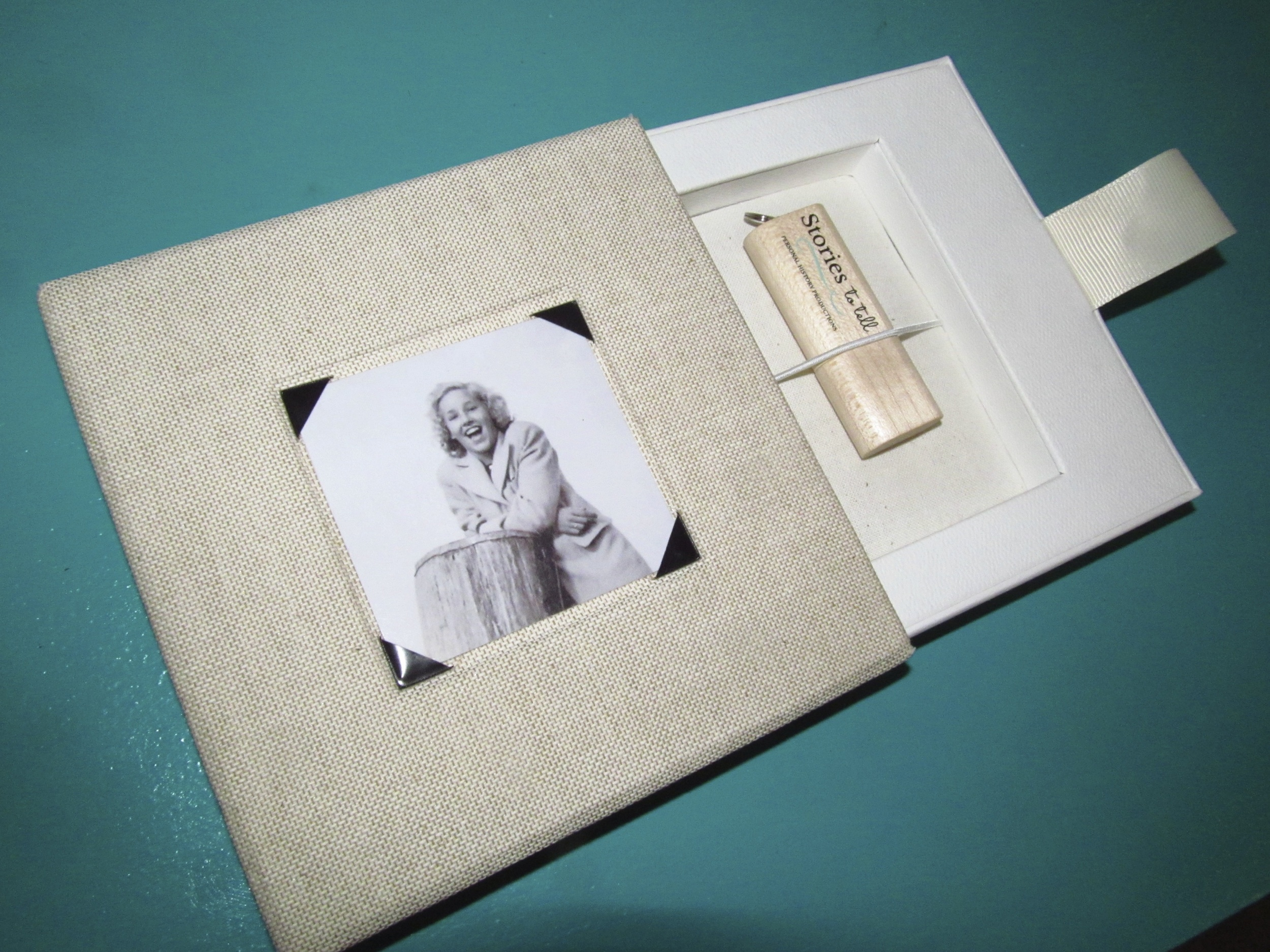 You know it's special! An audio memoir on bamboo USB housed in a linen case.