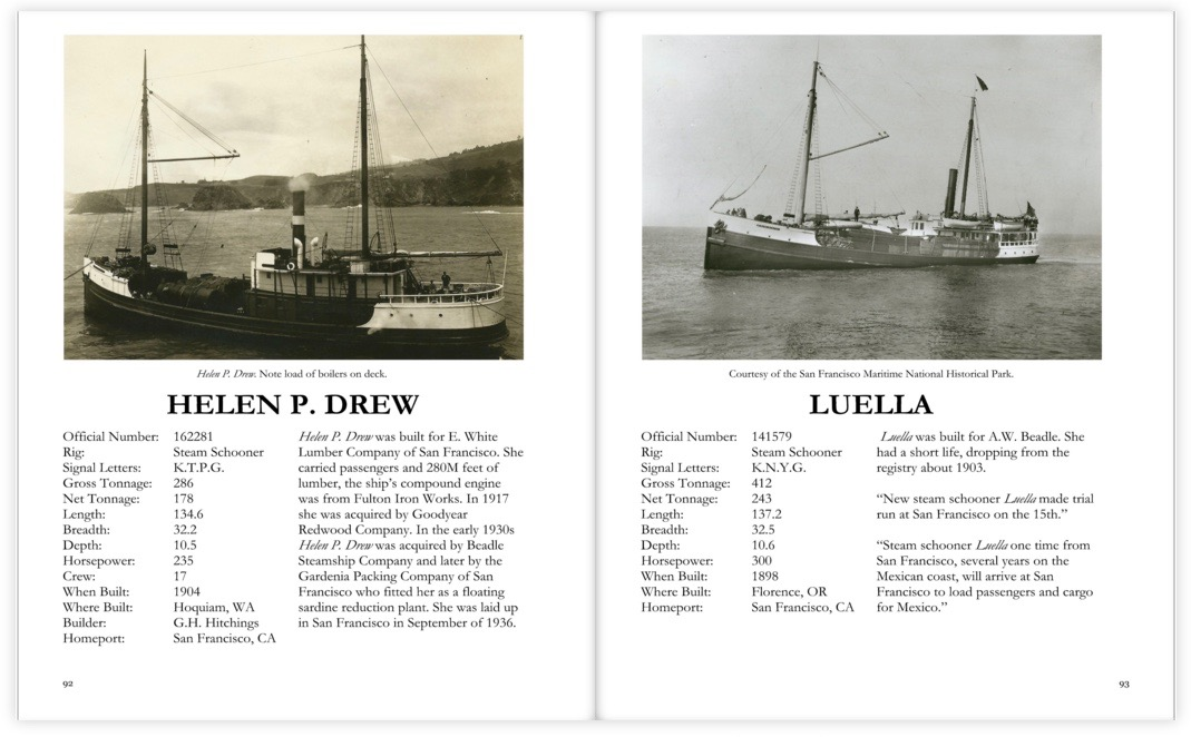 Pages from the Steamer Ship section