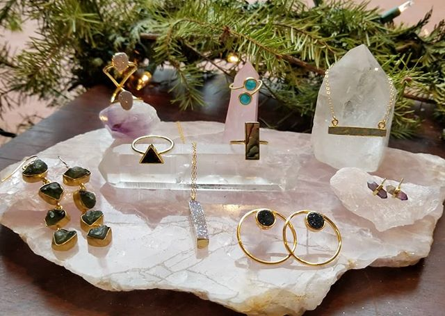 This pretty gemstone jewelry designed by @leslie.francesca makes us happy. In store over the holidays.  #jacksonandpolk #lesliefrancesca #gemstones #jewelry #local #supportsmallbusiness #shopsmall