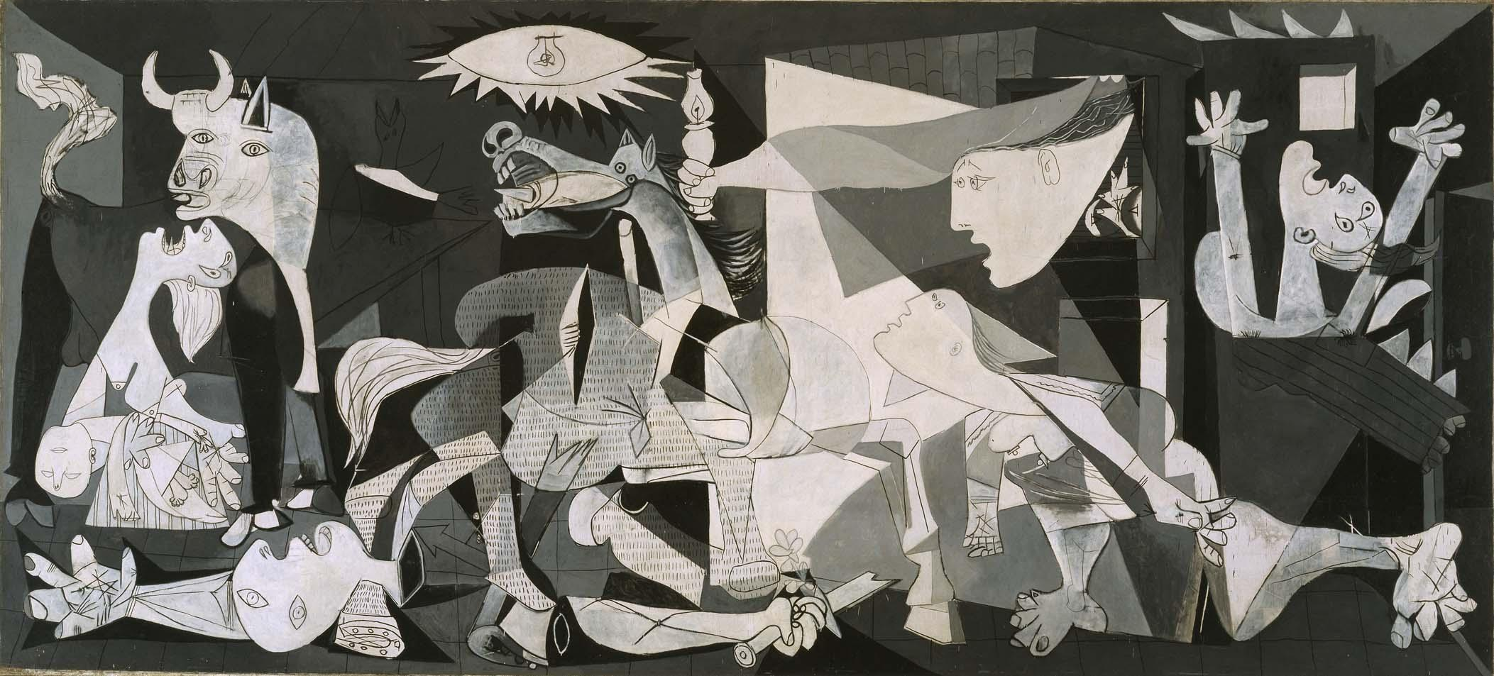 Guernica, by Pablo Picasso, 1937. Painted in response to the Nazi bombing of Guernica in 1937.