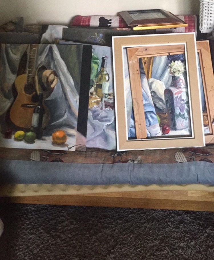 We had no idea what we would find when we got back in the house. I made a beeline for where I had stashed my paintings. They were DRY! By five inches!!! I didnt care about anything else at that point.
