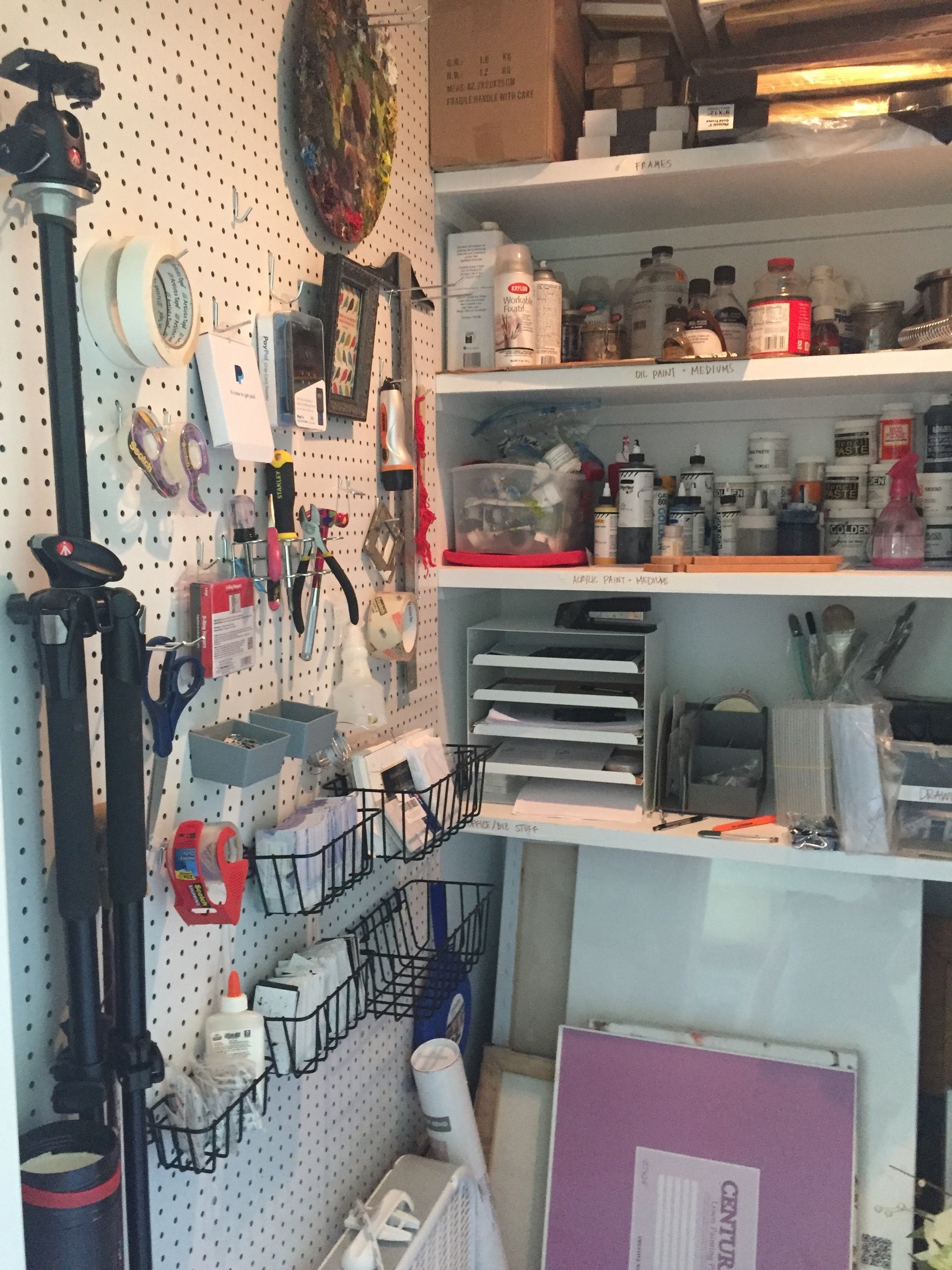 The pegboard was a great way to use the short wall that couldn't fit any shelving.