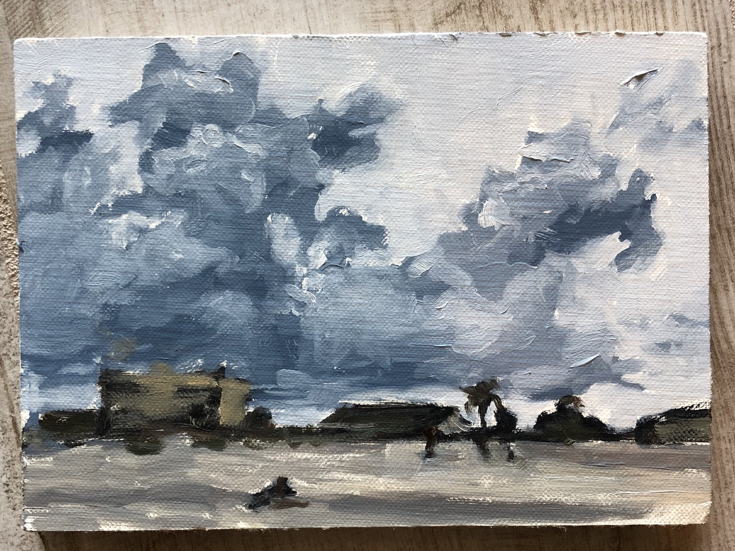 15 July 2018. We just discovered the beach is the only remotely less scorching place to hang on a Saturday morning. Plus it's a great place to run and try to get back in shape. The picture shows a lot more contrast than the painting actually has.