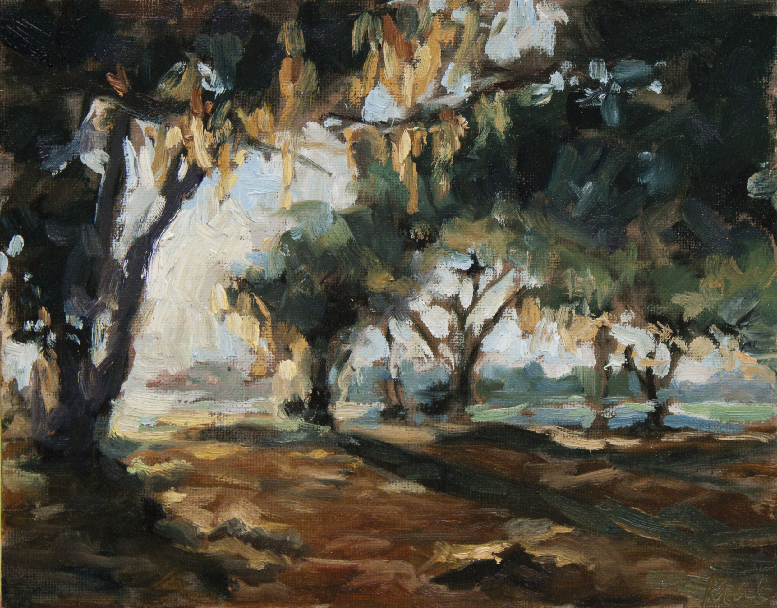 """Golden Oaks, 8""""x10"""" oil on canvas, Private Collection"""