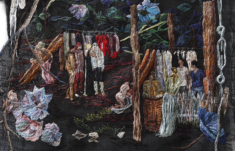 She Whispered and They Tried Things On , 2014, Embroidery Thread and Fabric, 30 x 28 in