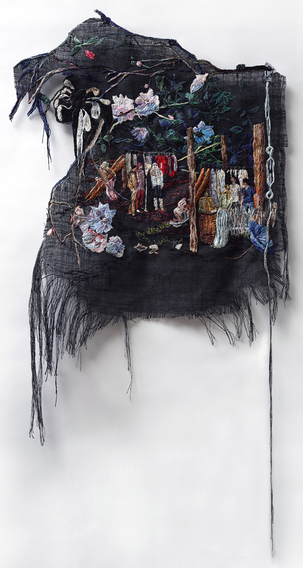 She Whispered and They Tried Things On , 2014, Embroidery Thread and Fabric