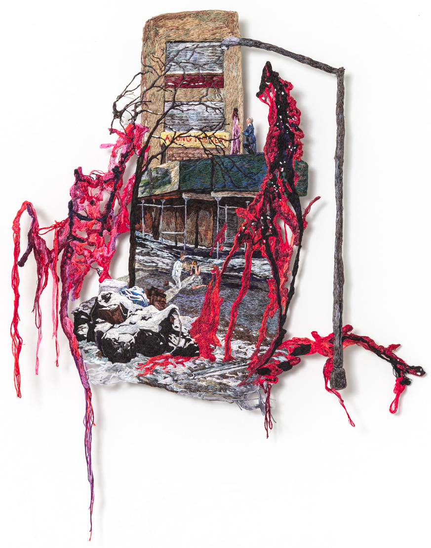 Along the Vein , 2015, Embroidery Thread and Fabric
