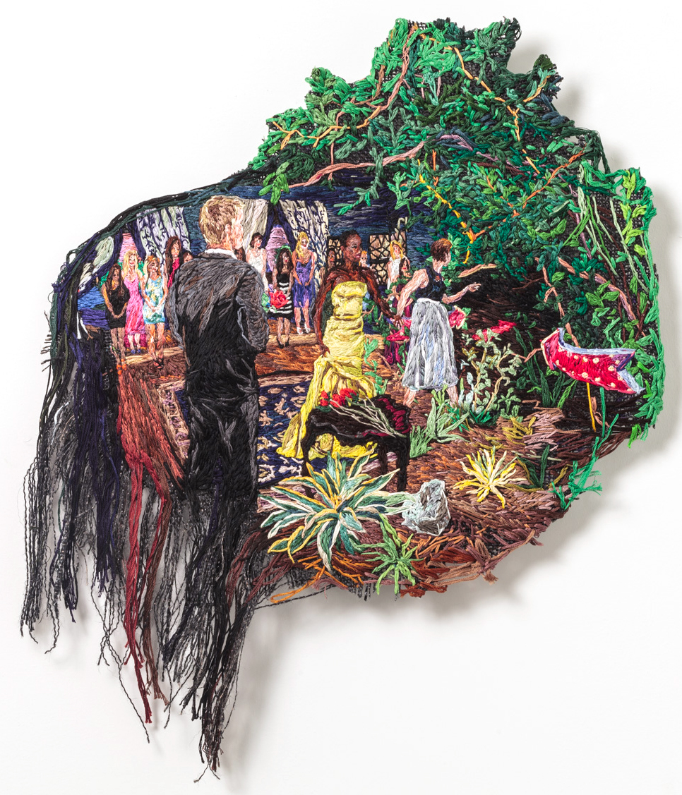 The Rose Ceremony , 2014, Embroidery Thread and Fabric, 19 x 16 in