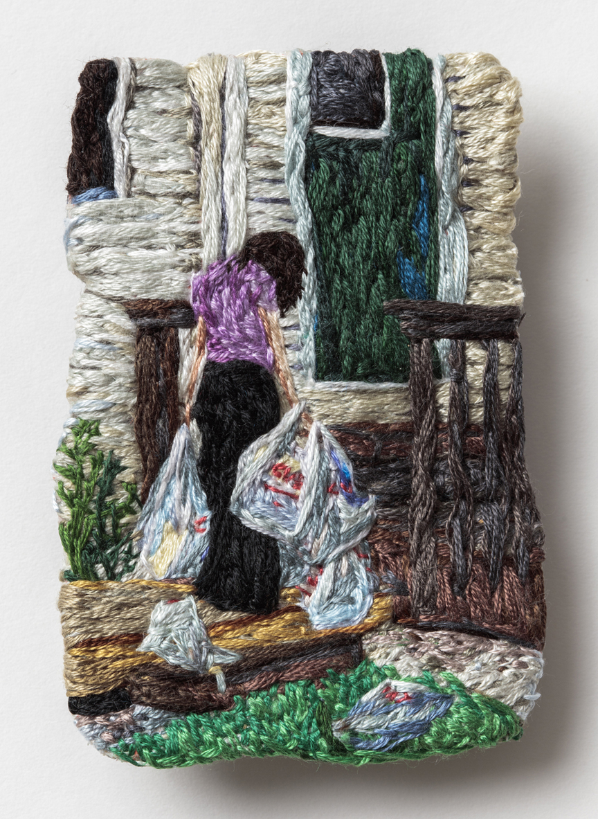 Card One: Cry  , 2016, Embroidery Thread and Fabric, 3.5 x 2.5 in