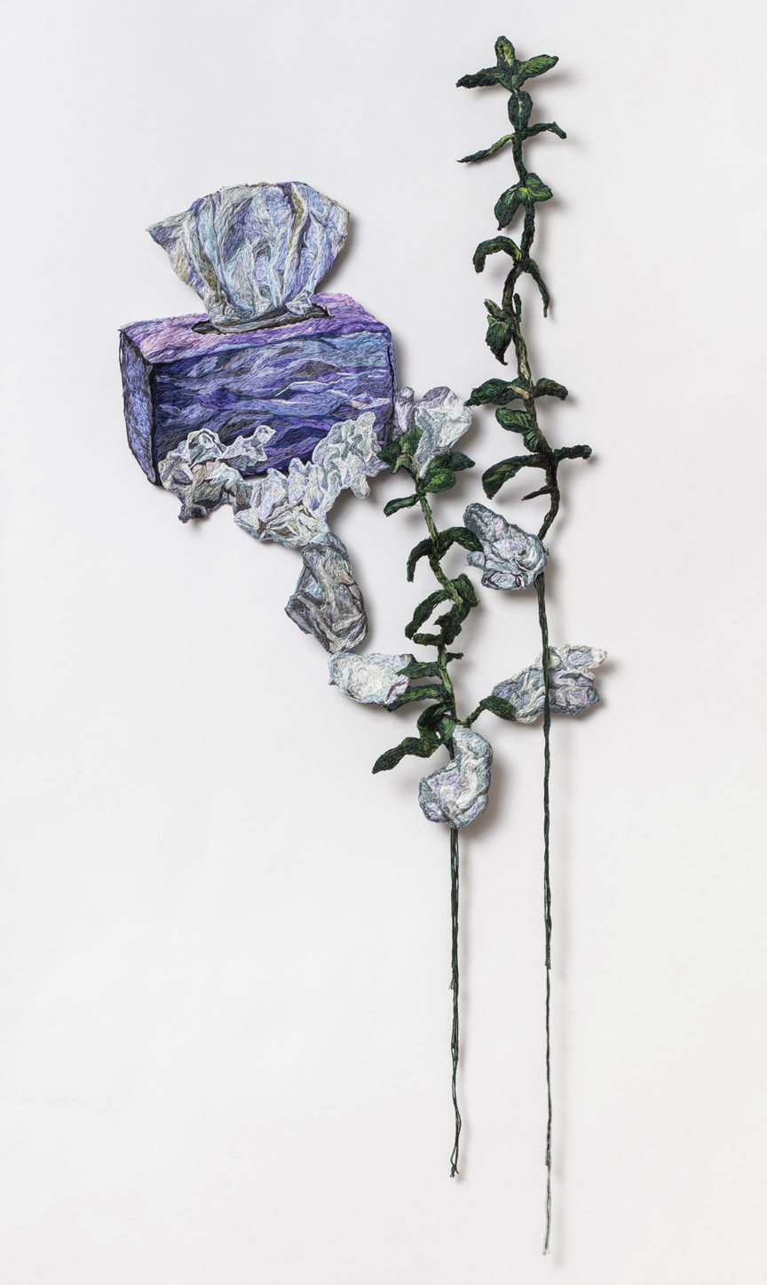 Crying  , 2015-16, Embroidery Thread and Fabric,16 x   39  in