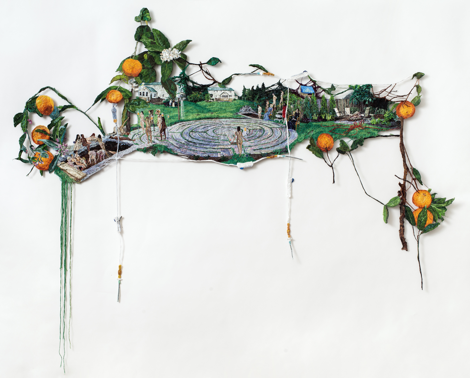 Stuck  , 2016, Embroidery Thread and Fabric, 62 in x 38 in