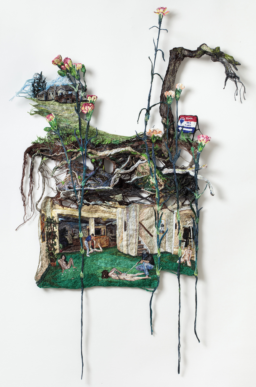 When Your Heart is Open  , 2015, Embroidery Thread and Fabric, 38.5 x 26 in