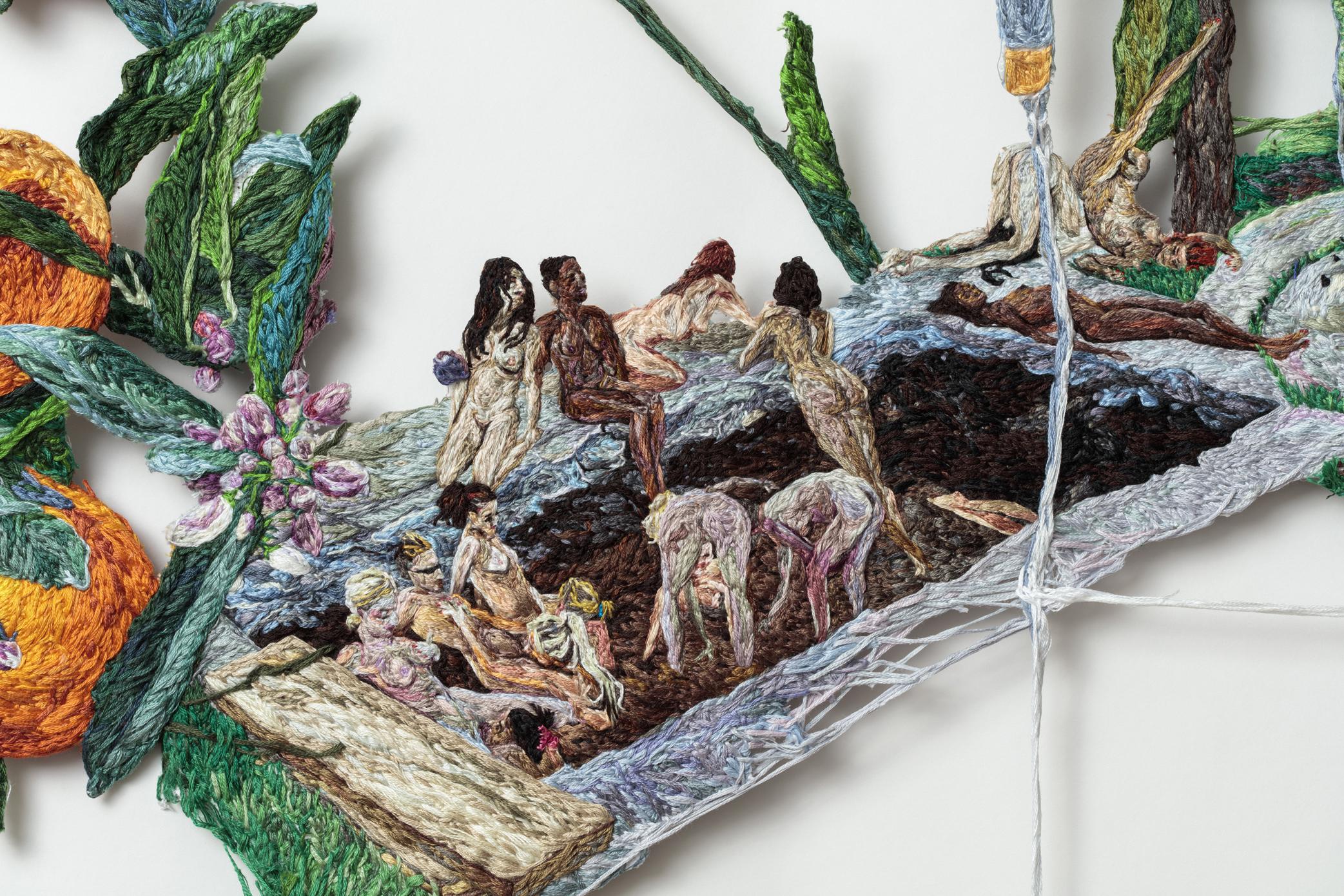 07. Stuck (detail 3), Sophia Narrett, 2016, Embroidery Thread and Fabric,.jpg