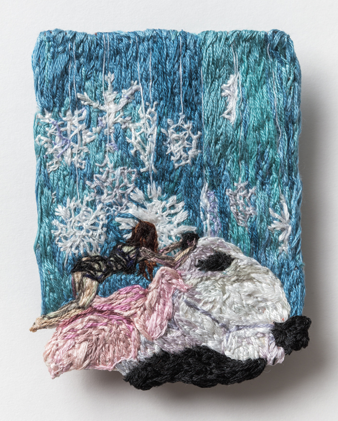 Card Three: Play , 2016, Embroidery Thread and Fabric 3.5 x 2.75 in