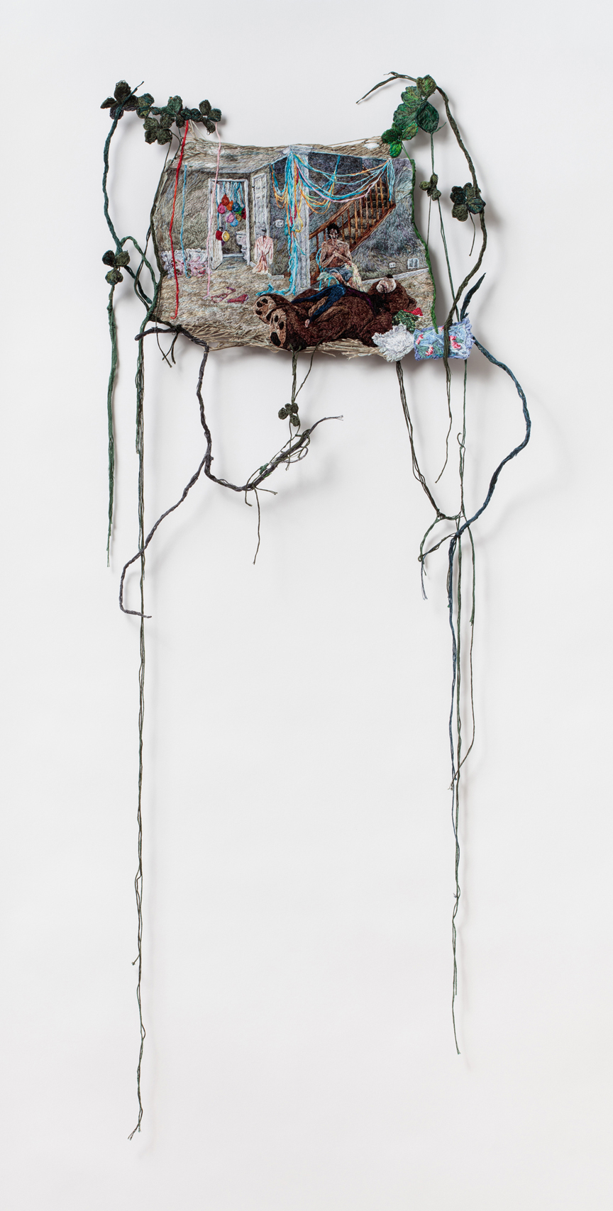 Relief and Delight  , 2016, Embroidery Thread and Fabric and Aluminum, 40 x 17.5 in