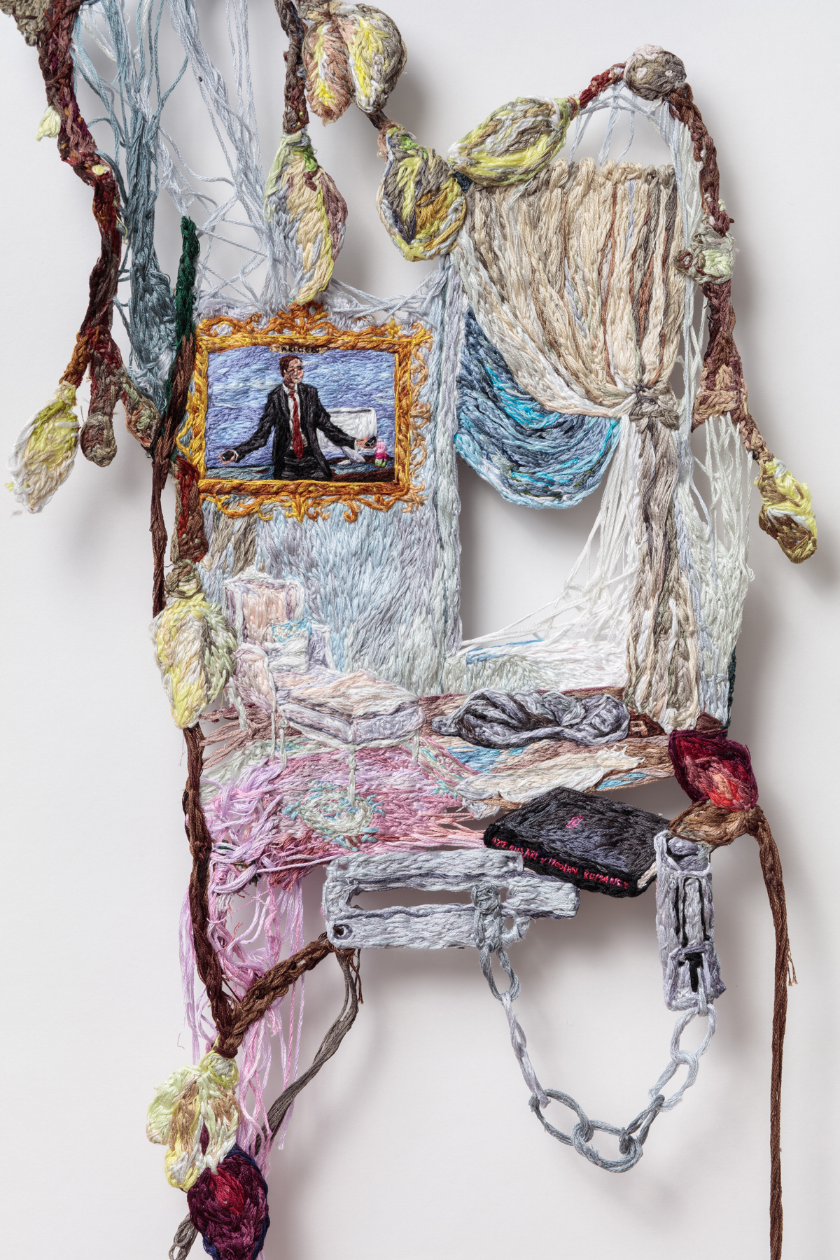 02. I Can't Stop Crying Except Sometimes When I Think of Ari Gold (detail), 2016, Embroidery Thread and Fabric, 34 x 12 in.jpg