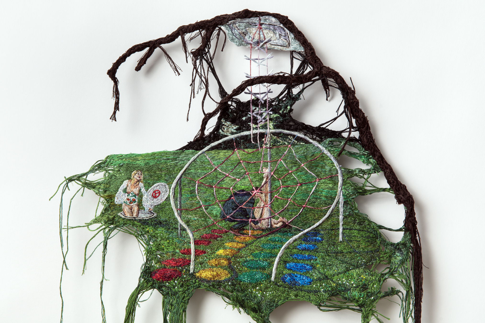 Ask Again , 2018, Embroidery Thread, Fabric, Aluminum, 16 x 33 in