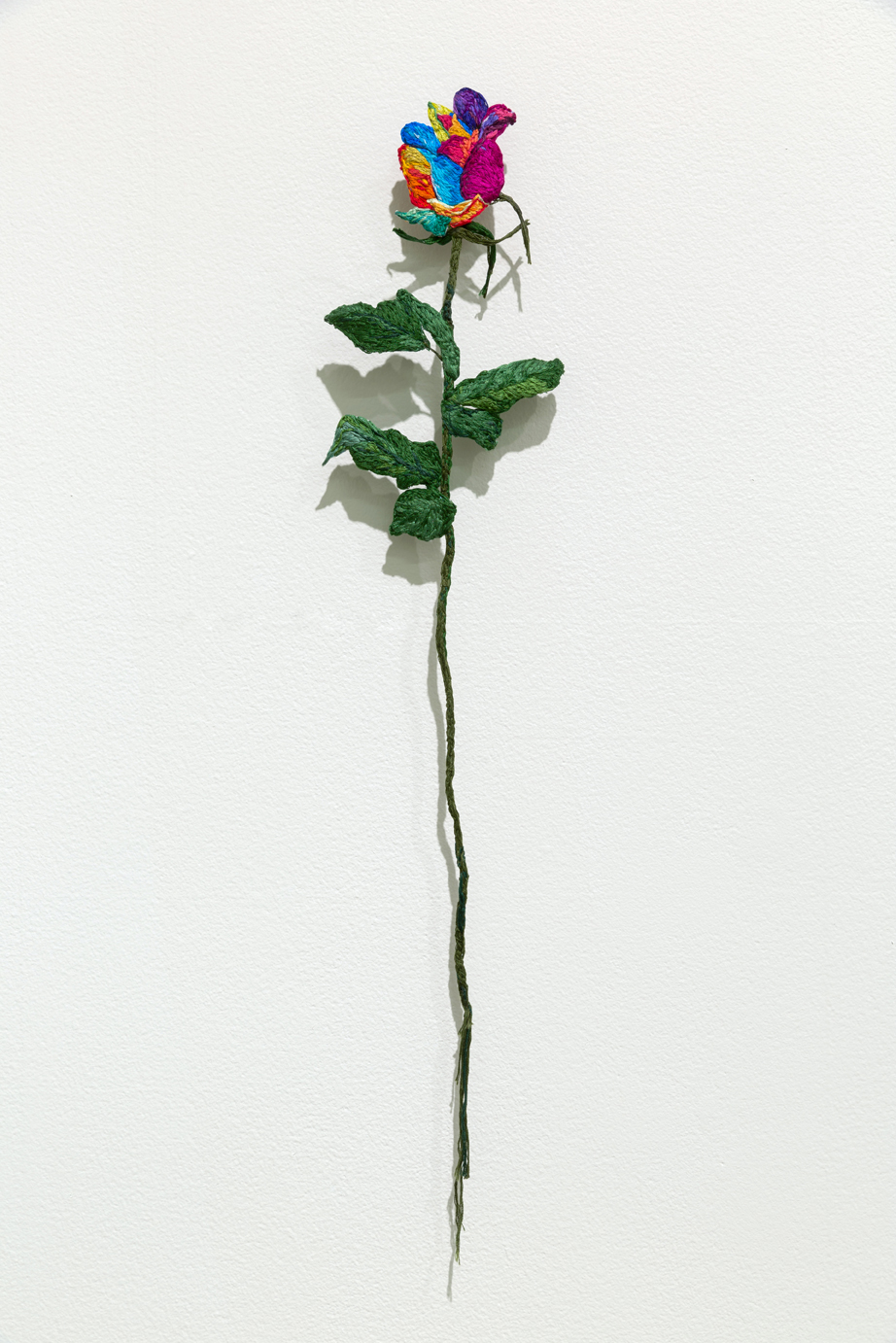 Candy Rose , 2018, Embroidery Thread, Fabric and Aluminum, 6 x 23.5 in
