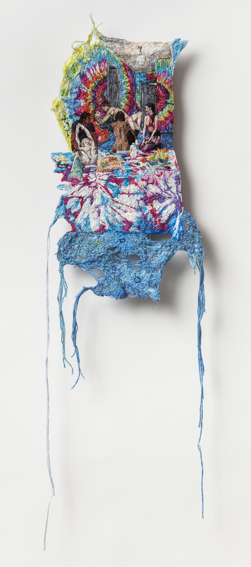 Heart , 2018, Embroidery Thread, Fabric, 7.5 in x 25 inches