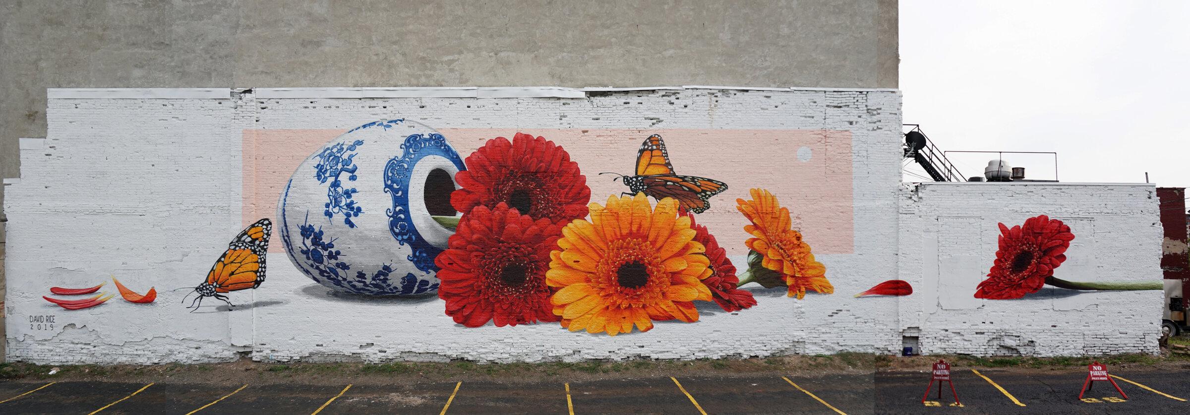 Mural for Bright Walls mural fest, Jackson, Michigan, 2019