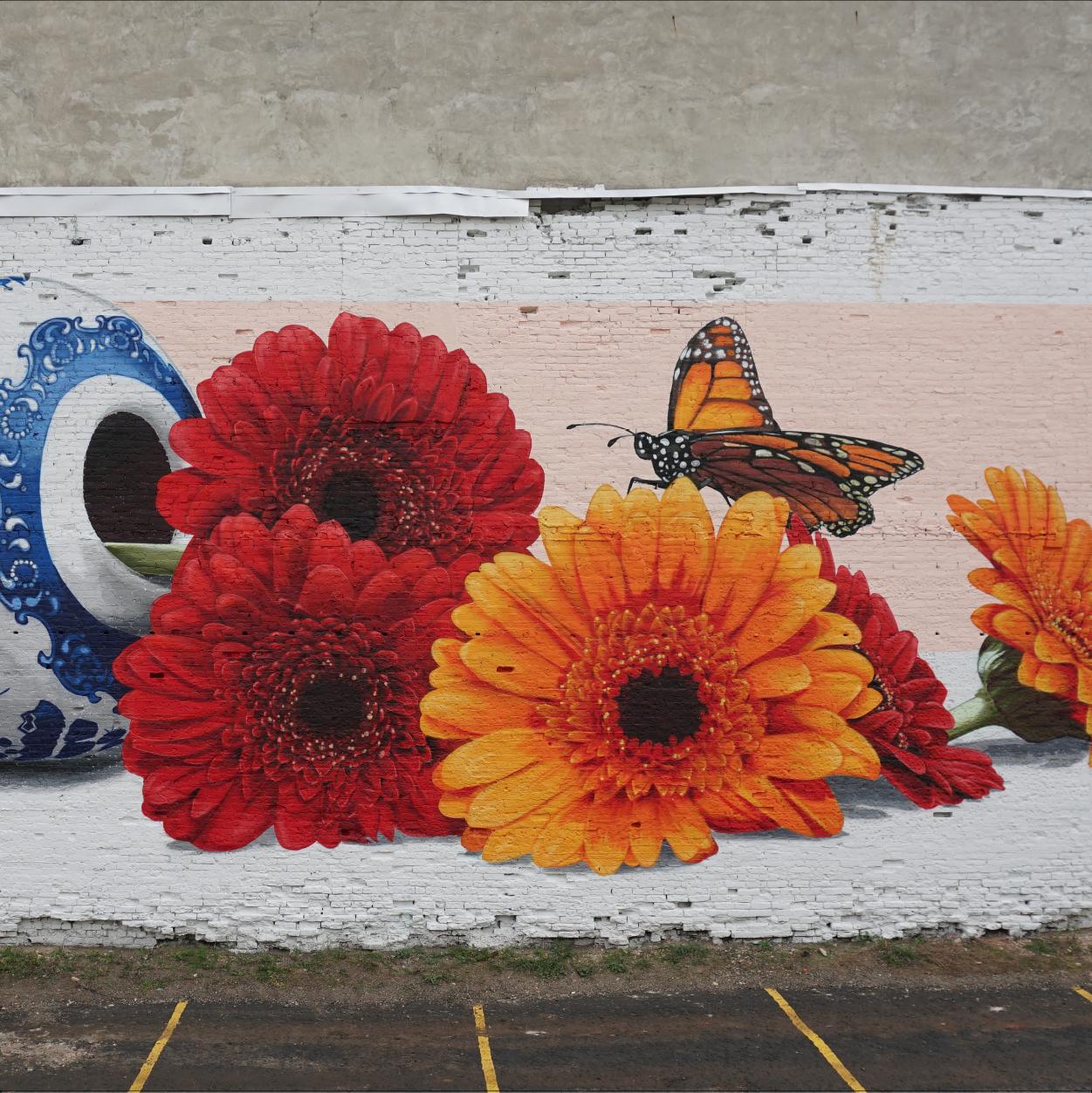 detail of Mural for Bright Walls mural fest, 2019