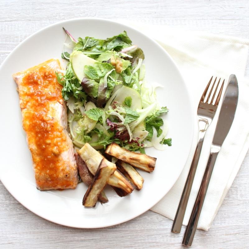 DINNER: Honey Dijon Fish with Sweet Potato Chips & Pear Salad