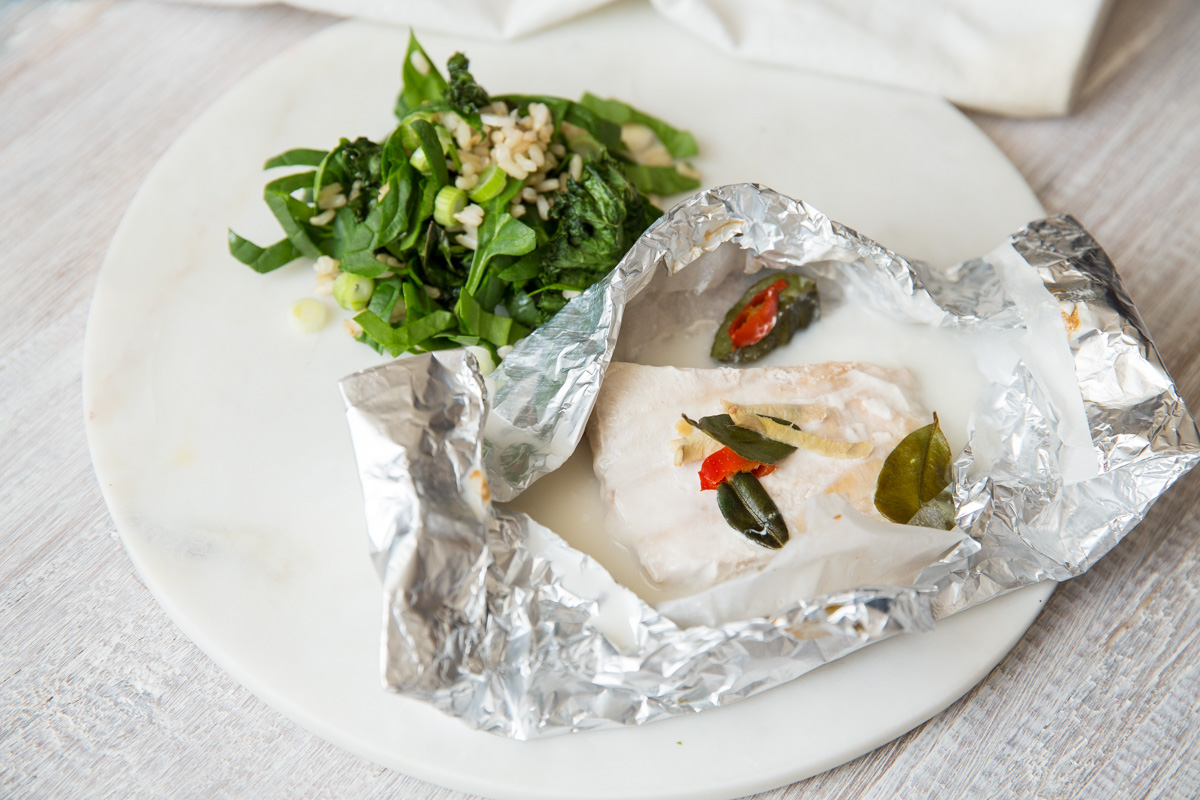 Coconut Baked Fish with Kale Salad