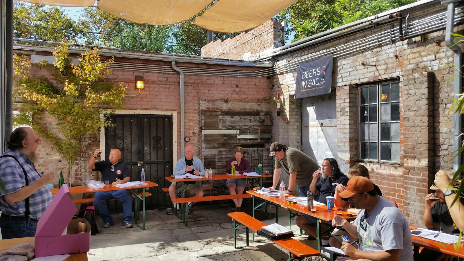 Class in the courtyard of New Helvetia Brewing