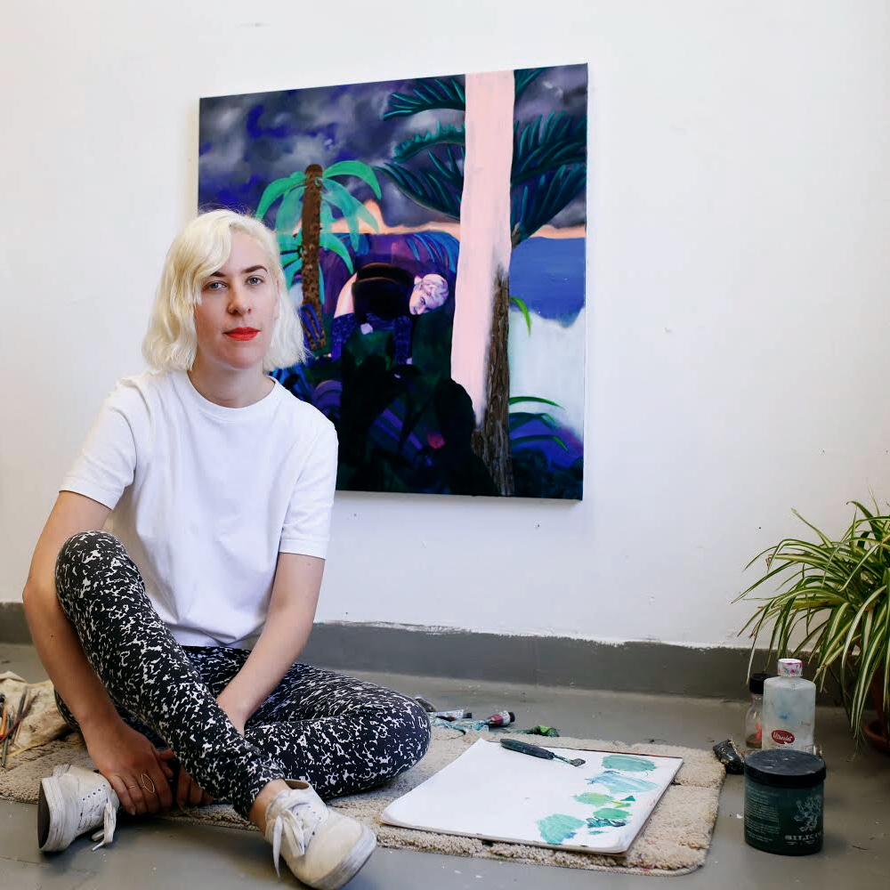 Kelsey Shwetz is a Canadian born painter who lives and works in Ridgewood, Queens. Shwetz received her BA (Hons) at the University of  Manitoba, completed the Advanced Painting Intensive at Columbia University in 2018, and has been a guest lecturer at UCLA and Pratt Institute. She has exhibited in New York, Germany, Miami, Toronto, and  Montreal and was awarded residencies at the Centre Pompadour (France);  Emerson Landing, Eastside International, Starry Night (USA); and  CanSerrat (Spain). Publications featuring her work include: Maake  Magazine, ArtMaze Magazine, Hiss Magazine, Brooklyn Magazine, Whitehot  Magazine, NYC-ARTS, Posture Magazine, Flavorwire, Lost at E-Minor, Lip  Magazine, Tjen Folket, and the Globe and Mail. Her most recent solo  exhibition was in the spring of 2018 at Brethren Gallery in New York.