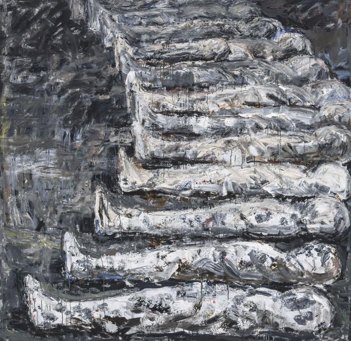 """Anki King, Row, 68"""" x 70"""", oil on canvas, 2016"""