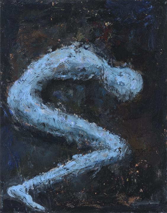 """Anki King, Blue Bend, 14"""" x 11"""", oil on board, 2018"""