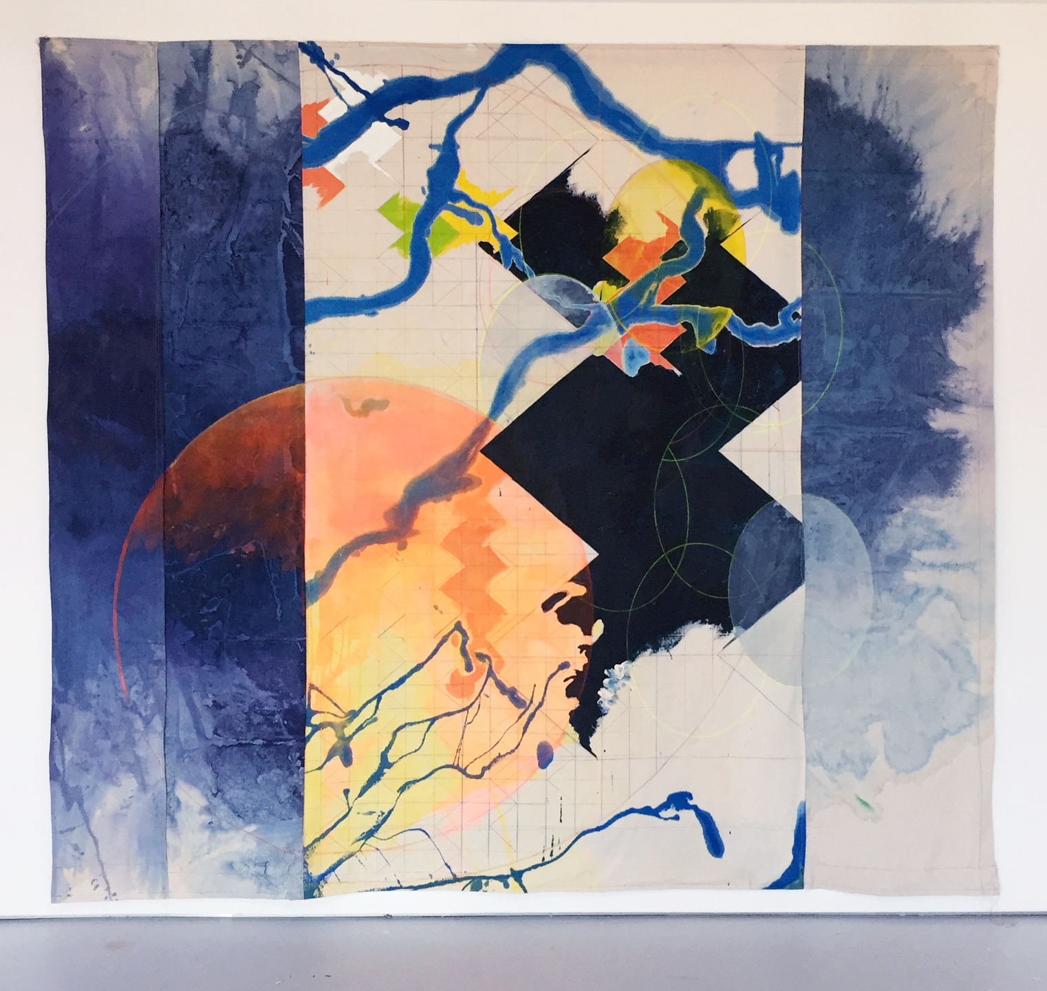 Anne Sherwood Pundyk, Being Blue, 2018, Acrylic, Latex, Colored Pencil Stitching on Canvas, 90 x 100 inches