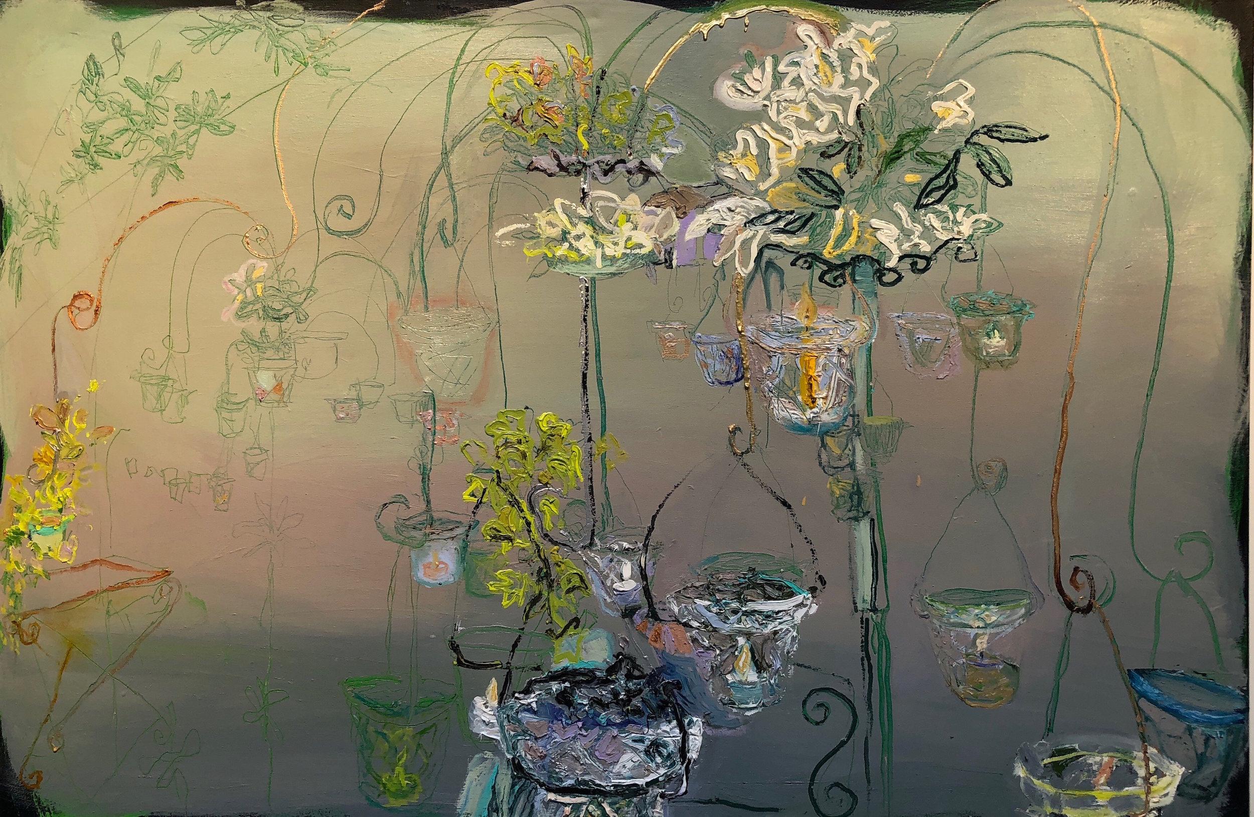 "Lizbeth Mitty, Split Fountain, 40"" x 60"", Oil on Canvas"
