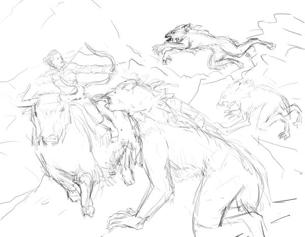 Werewolf Attach Rough Sketch