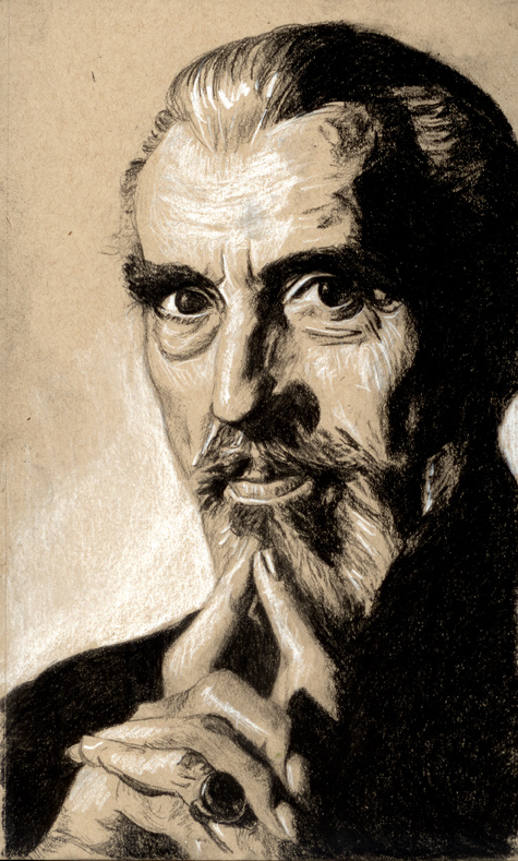 RIP Christopher Lee - charcoal on toned paper