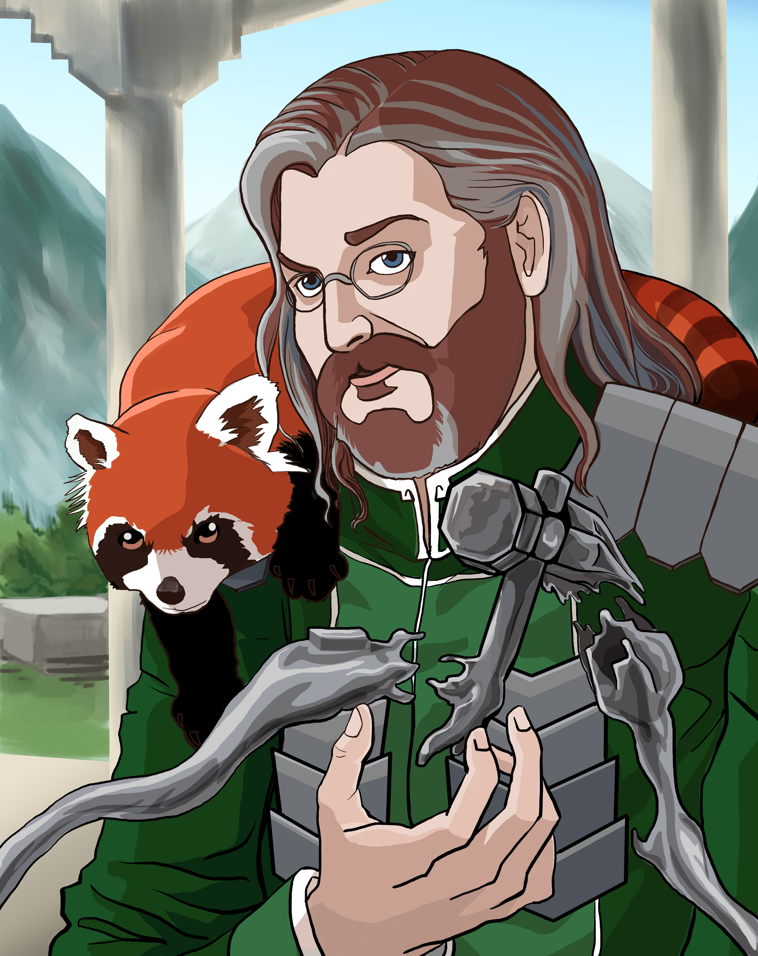 Jayson as a metalbending master with an adorable red panda to accompany him on his adventures.