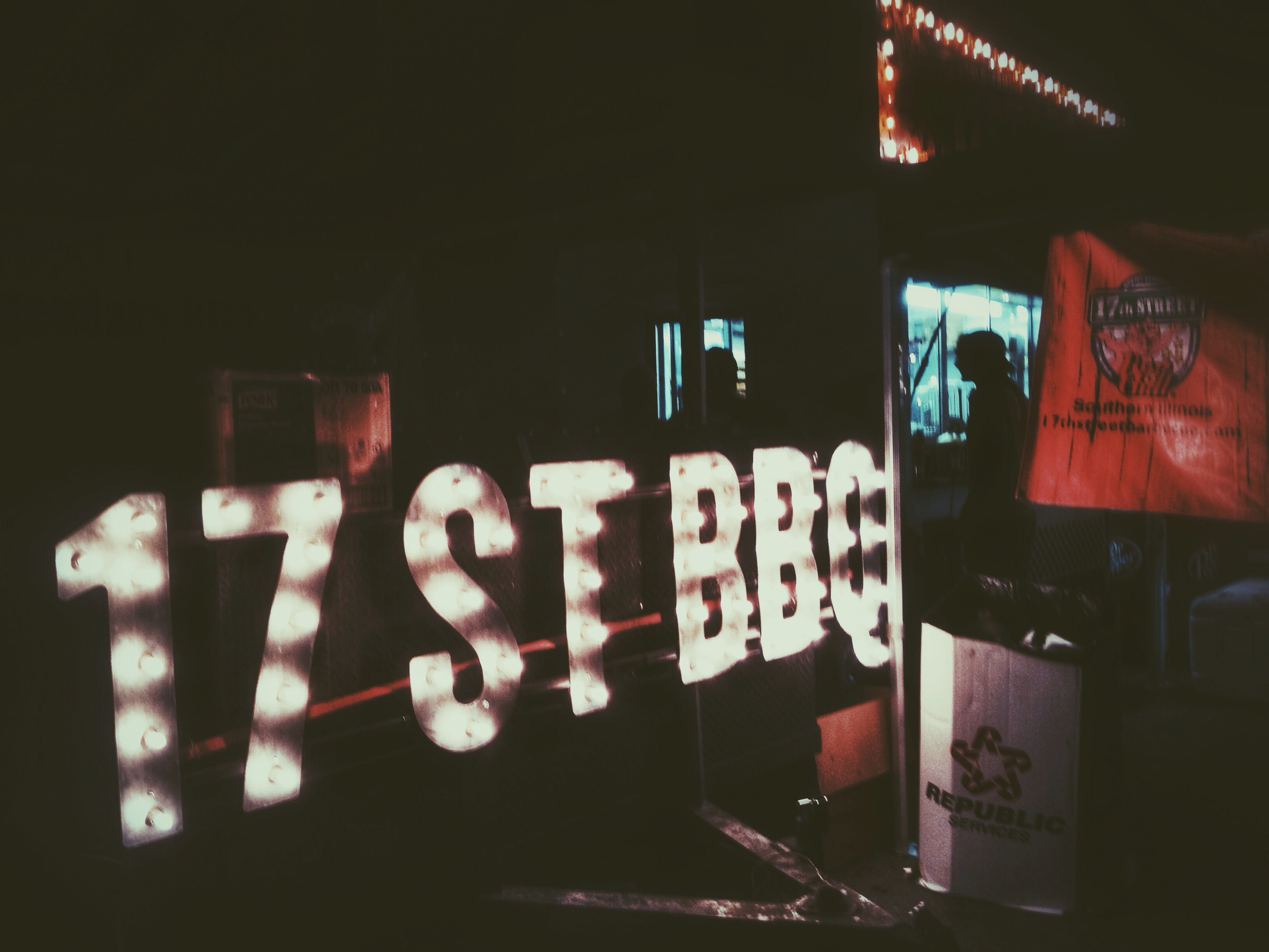 Pitmaster Mike Mills' 17th Street BBQ Signage, representing Murphysboro, Illinois