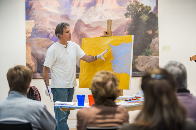 painting demonstration, photo courtesy of Gilcrease Musuem