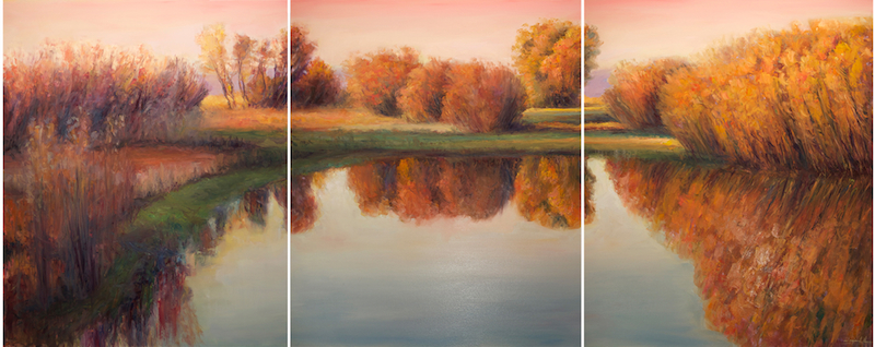 Anthem of the Bosque, oil on canvas, 48x120 triptych,2014