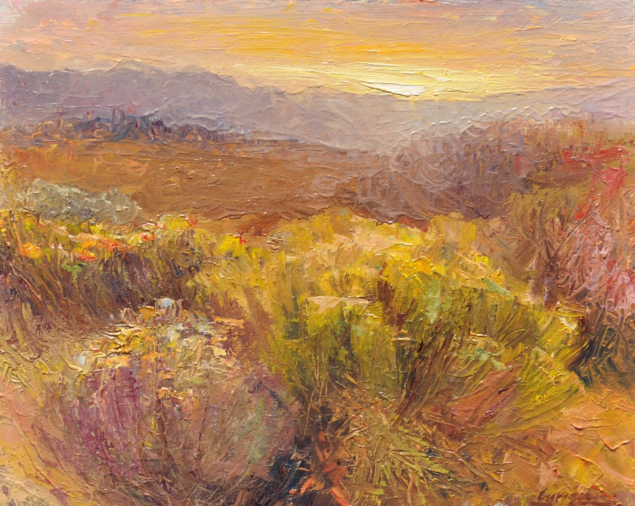 Desert Sunset, oil, 8x10