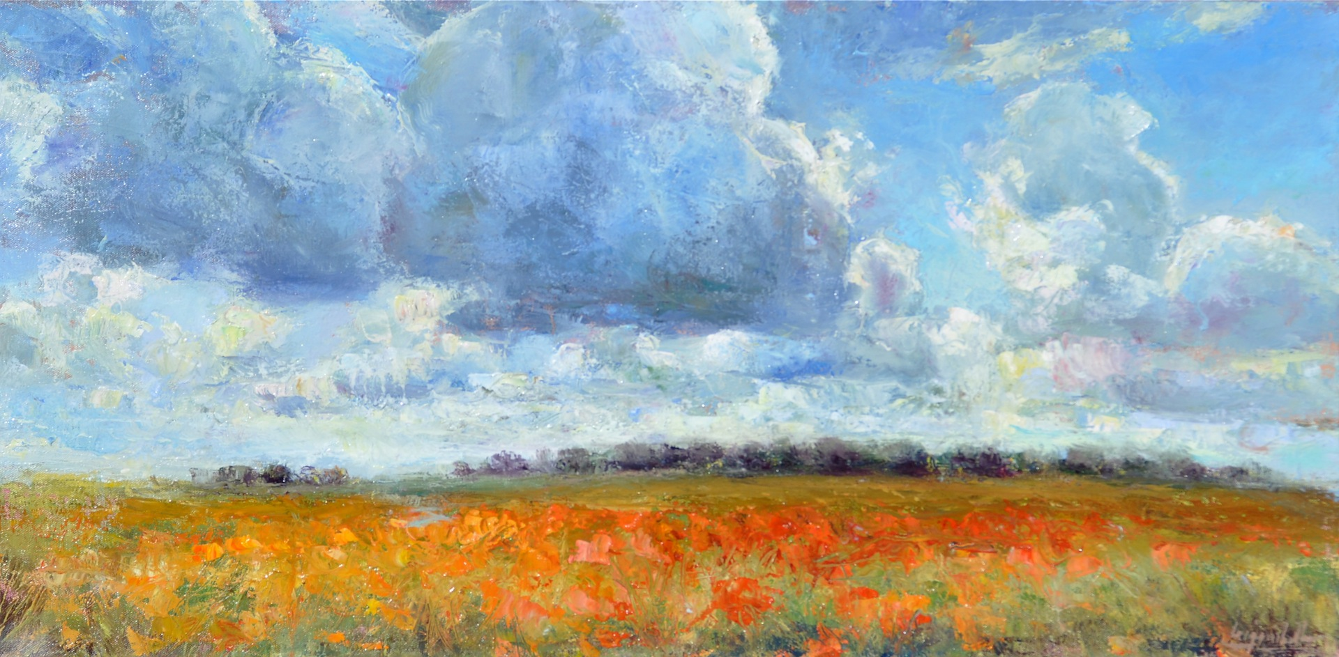 "Sky Over Prairie Flowers, oil, 15""x30"""
