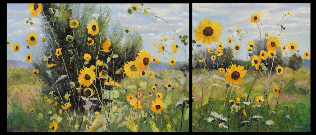 The Story Sunflowers Told, oil on canvas, 52x122 diptych, 2017
