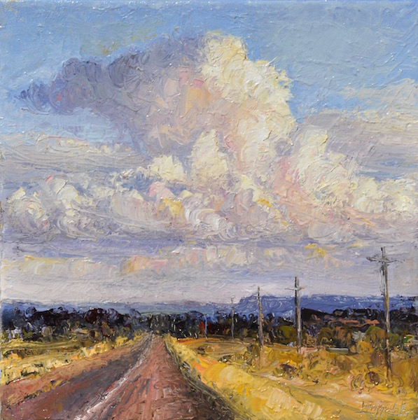 Open Road, oil, 12x12